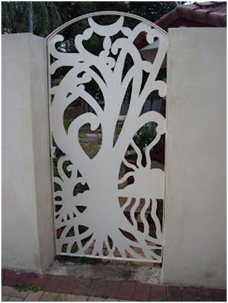 Custom designed white steel garden gate